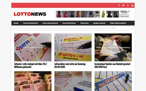 Screenshot of Home Page lotto-news.de - Lotto News - Aktuelle Lotto-Nachrichten - captured Feb. 20, 2016