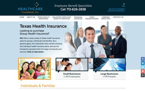 Screenshot of Home Page Blog About Page Privacy Page Contact Page FAQ Page Site Map Page Terms Page hciamerica.com - Group Health Insurance Texas, Dental, Life and More – Healthcare Consultants - captured Oct. 2, 2014