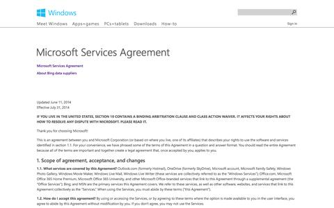 Screenshot of Terms Page microsoft.com - Microsoft Services Agreement - Microsoft Windows - captured Sept. 12, 2014