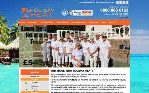 Screenshot of Home Page holidayheat.co.uk - Holiday Heat, Specialist Sports Travel Agent - Holiday Heat Ltd - captured July 20, 2018