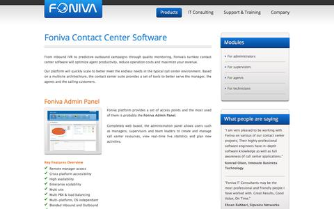 Screenshot of Products Page foniva.com - Foniva Contact Center Software - captured June 6, 2017