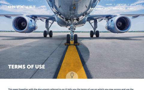 Screenshot of Terms Page oryxjet.com - Terms of Use | Oryx Jet - captured Oct. 20, 2018