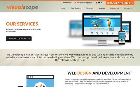 Screenshot of Services Page visualscope.com - Web Design, SEO, Ecommerce Services | Visualscope LLC - captured Oct. 30, 2017