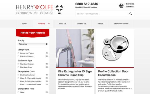 Screenshot of Products Page henrywolfe.co.uk - Our Range of Quality Products - captured July 18, 2018