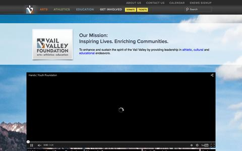 Screenshot of Home Page vvf.org - Vail Valley Foundation - Inspiring Lives Enriching Community - captured Oct. 22, 2015