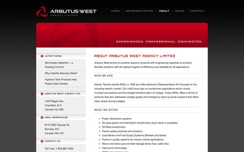 Screenshot of About Page arbutuswest.com - About   AWAL Arbutus West Agency Ltd. - captured Oct. 4, 2014