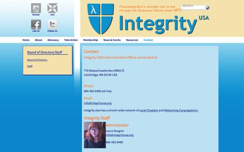 Screenshot of Contact Page integrityusa.org - Contact - captured Jan. 9, 2016