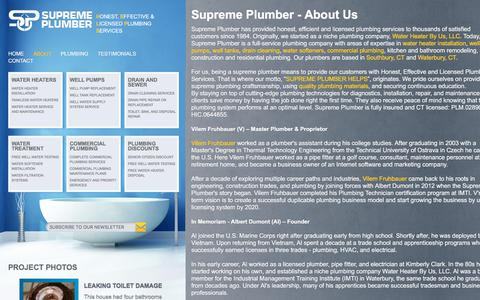 Screenshot of About Page supremeplumber.com - plumber waterbury   plumber southbury   water heater ct   supreme plumber - About - captured July 19, 2019