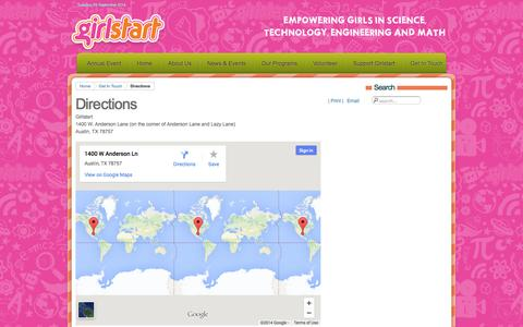 Screenshot of Maps & Directions Page girlstart.org - Directions - captured Sept. 23, 2014