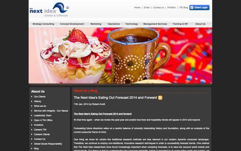 Screenshot of Blog thenextidea.net - Restaurant Consultants, Restaurant Consulting Firms - captured Sept. 24, 2014