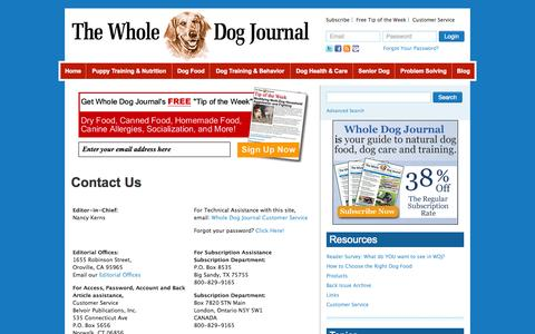 Screenshot of Contact Page whole-dog-journal.com - Contact Us - Whole Dog Journal - captured Oct. 30, 2014