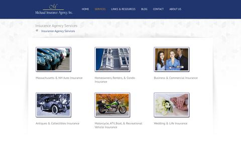 Screenshot of Services Page michaudinsurance.com - Insurance Agency Services | Michaud Insurance Agency, Methuen, MAMichaud Insurance Agency - captured Oct. 3, 2014