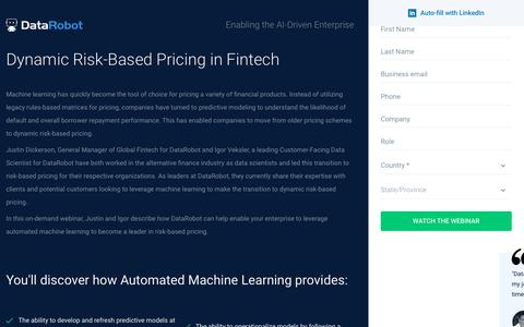 Screenshot of Landing Page datarobot.com - Dynamic Risk-Based Pricing in Fintech - DataRobot - captured Sept. 19, 2018