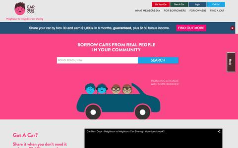 Screenshot of Home Page carnextdoor.com.au - Car Sharing, Rental & Hire Sydney & Melbourne - Car Next Door - captured Oct. 23, 2015