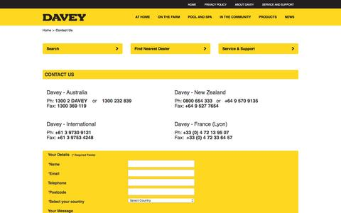 Screenshot of Contact Page davey.com.au - Contact Us - captured Feb. 8, 2016