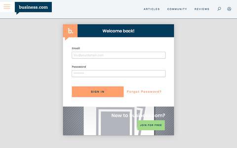 Screenshot of Login Page business.com - business.com: Expert Business Advice, Tips, and Resources - captured Dec. 8, 2019
