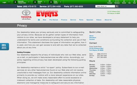 Screenshot of Privacy Page evanstoyota.com - Evans Toyota Scion | Vehicles for sale in Fort Wayne, IN 46808 - captured Oct. 3, 2014