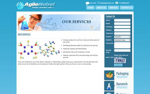 Screenshot of Services Page agilenobel.com - Find Vendors, contact for partnership Distribute Products in India  Oxygen Absorbers for food - captured July 9, 2018