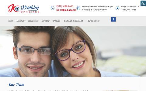 Screenshot of Team Page keathleyopticians.com - Our Team in Tulsa, OK - Keathley Opticians - captured Oct. 12, 2018