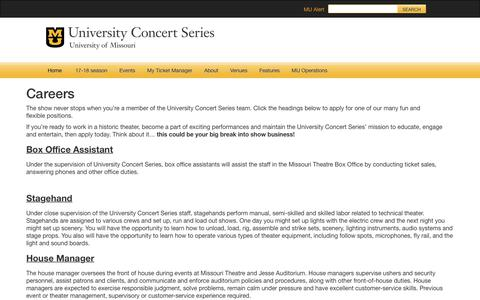 Screenshot of Jobs Page missouri.edu - Careers | Concert Series | University of Missouri - captured March 13, 2018