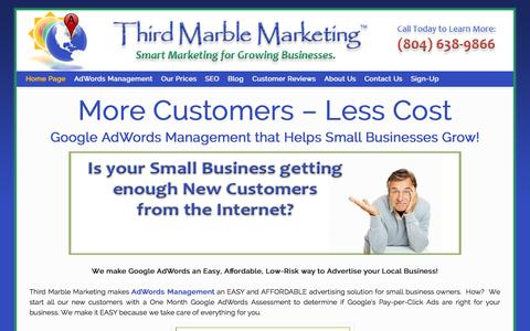Screenshot of Home Page thirdmarblemarketing.com - AdWords Management | Small Business Google AdWords Pay per Click - captured Sept. 30, 2014