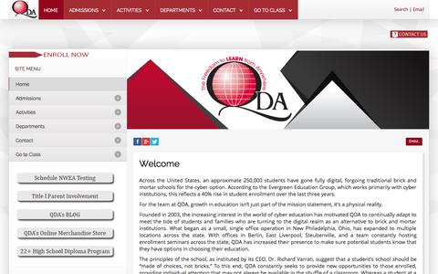 Screenshot of Home Page go2qda.org - QDA - Ohio's Premier Online School - captured Sept. 19, 2015