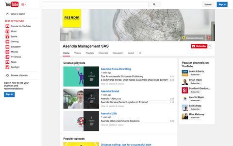 Screenshot of YouTube Page youtube.com - Asendia Management SAS  - YouTube - captured Oct. 23, 2014