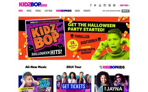 Screenshot of Home Page kidzbop.com - KIDZ BOP | Today's Biggest Hits Sung By Kids For Kids™ - captured Sept. 24, 2014