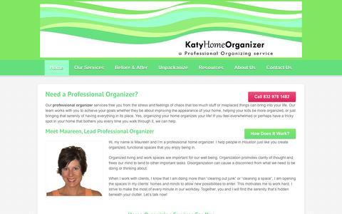 Screenshot of Home Page katyhomeorganizer.com - Home Organization | Katy Home Organizer - captured Jan. 21, 2015