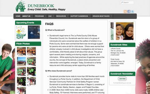 Screenshot of FAQ Page dunebrook.org - FAQS | Dunebrook - captured Oct. 5, 2014
