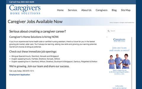 Screenshot of Jobs Page caregivershomesolutions.com - Caregiver Jobs Available Now - Caregivers Home Solutions - captured Jan. 25, 2016
