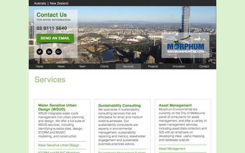 Screenshot of Services Page morphum.com.au - Services | Morphum Environmental - captured Dec. 22, 2016