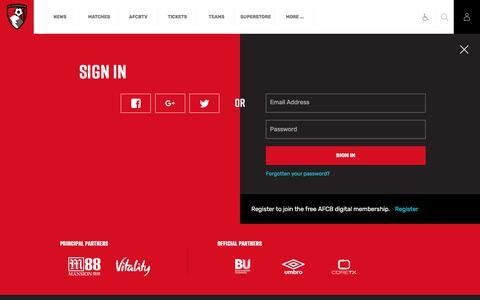 Screenshot of Login Page afcb.co.uk - AFCB - Official Club Website - captured July 9, 2017