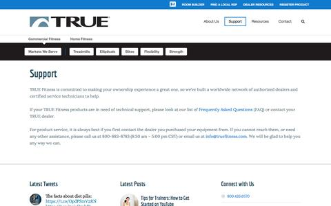 Screenshot of Support Page truefitness.com - Support - True Fitness - captured Feb. 18, 2016