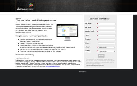 Screenshot of Landing Page channeladvisor.com - 7 Secrets to Successful Selling on Amazon - captured March 3, 2016