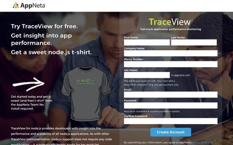 Screenshot of Landing Page appneta.com - Free Trial | TraceView Full-Stack Application Performance Monitoring | AppNeta - captured Feb. 23, 2016