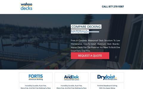 Screenshot of Landing Page wahoodecks.com - Wahoo Decks Aluminum Deck Products - captured March 25, 2018