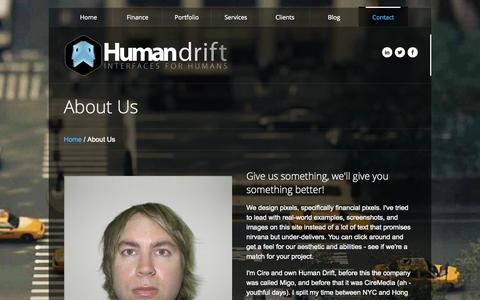 Screenshot of About Page humandrift.com - Human Drift Limited | Bespoke Financial Design - captured Sept. 30, 2014