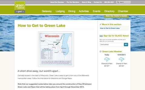 Screenshot of Maps & Directions Page visitgreenlake.com - How to Get to Green Lake | Green Lake Area Chamber of Commerce - captured Oct. 3, 2014