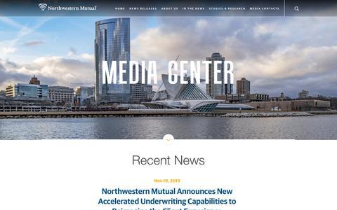 Screenshot of Press Page northwesternmutual.com - Newsroom   Northwestern Mutual - Home - captured Nov. 27, 2019