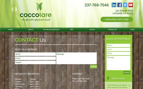 Screenshot of Contact Page coccolarespa.com - Medical Aesthetics | Lafayette | Coccolare Spa | CONTACT - captured July 19, 2018