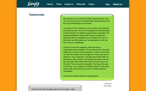 Screenshot of Testimonials Page simplecms.com - Simple content management system :: Simple CMS :: Testimonials - captured Oct. 30, 2014