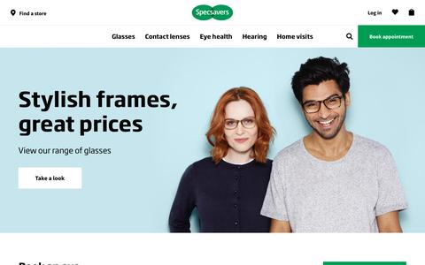 Screenshot of Home Page specsavers.co.uk - Welcome to Specsavers Opticians - captured Feb. 9, 2018