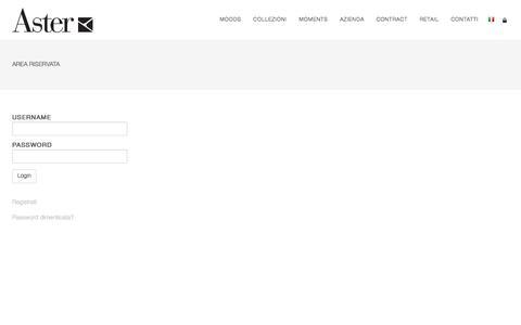 Screenshot of Login Page astercucine.it - Aster | Area Riservata - captured Oct. 9, 2017