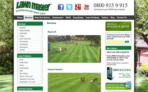 Screenshot of Services Page lawnmaster.co.uk - Services - Lawn Master - captured Sept. 29, 2014