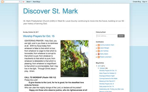 Screenshot of Home Page Blog discoverstmark.blogspot.com - Discover St. Mark - captured Oct. 24, 2017
