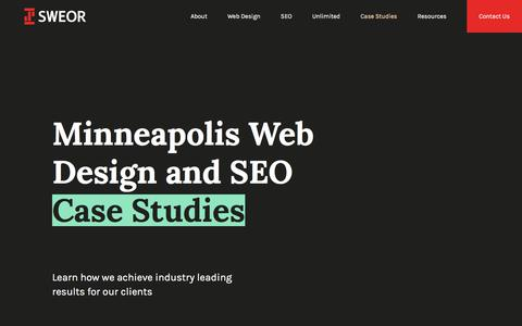 Screenshot of Case Studies Page sweor.com - Minneapolis Web Design and SEO Case Studies - captured July 4, 2018