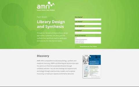 Screenshot of Landing Page amriglobal.com - Fact Sheet: Library Design and Synthesis | AMRI Global - captured April 9, 2018
