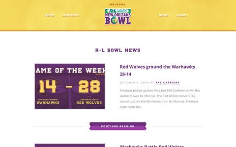 Screenshot of Press Page rlbowl.com - R+L Bowl News - R+L Carriers New Orleans Bowl - captured Oct. 6, 2014