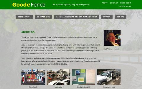 Screenshot of About Page goodefence.com - About - Myrtle Beach Fencing Contractors & Installations | GoodeFence - captured Oct. 20, 2018